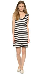 Edith A. Miller Boyfriend Tank Mini Dress Black Natural Wide Stripe