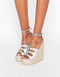 Daisy Street Ankle Tie Wedge Espadrilles Silver