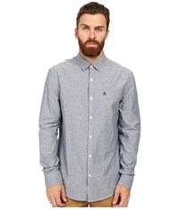 Original Penguin Long Sleeve Oxford With 3D Glasses Print Blue Wing Teal Men's Long Sleeve Button Up Red