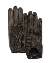 Portolano Woven Napa Leather Driving Gloves Black