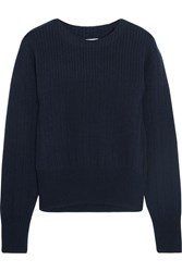 Frame Ribbed Wool And Cashmere Blend Sweater Navy