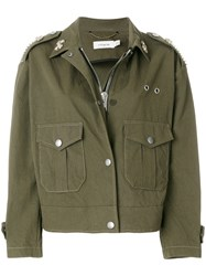 Coach Embroidered Military Jacket Green