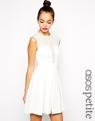 Asos Petite Exclusive Mesh Insert Skater Dress With Textured Fabric White