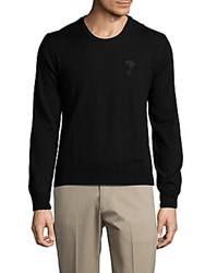 Versace Wool Crewneck Solid Sweater Black