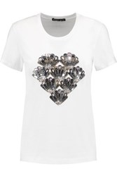 Markus Lupfer Bella Crystal And Sequin Embellished Cotton Jersey T Shirt White