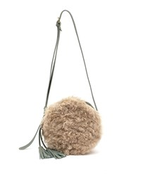 Il Bisonte Disco Circle Lamb Shearling And Leather Crossbody Bag Sage