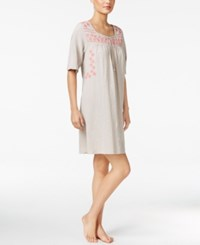 Lucky Brand Embroidered Nightgown Taupe