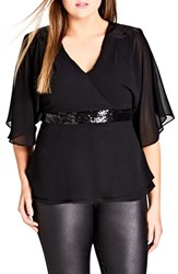 City Chic Plus Size Women's Sequin Wrap Top Black