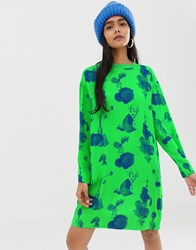 Weekday Fruit Plant Print Shirt Dress In Neon Green Aop Bright Green