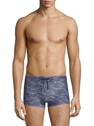 2Xist Wave Print Swim Trunks Wave Blue
