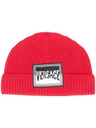 Versace Logo Patch Wool Beanie Red