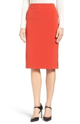Halogenr Women's Halogen Side Slit Pencil Skirt Red Bloom