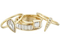 Alexis Bittar 4 Piece Stacking Ring Set W Cube Pave Spike Petite Tear Drop And Baguette Eternity Band 10K Gold