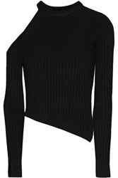 Cushnie Et Ochs Renee Cold Shoulder Ribbed Knit Top Black
