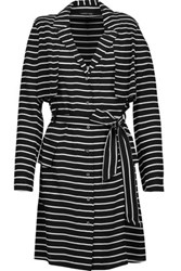 Marissa Webb Jules Striped Silk Georgette Mini Dress Black