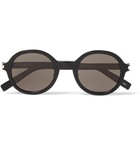 Saint Laurent Classic 161 Slim Round Frame Acetate Sunglasses Black
