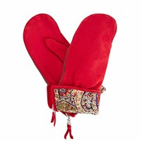 Gizelle Renee Psyche Red Nubuk Suede Gloves With Bf Liberty Tana Lawn