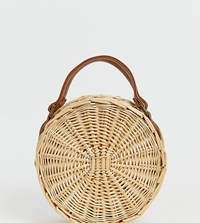 South Beach Round Straw Bag With Detachable Cross Body Strap Beige