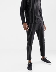 Another Influence Pinstripe Slim Fit Jersey Joggers Black