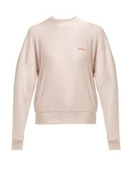 Aries Logo Print Cotton Sweatshirt Light Pink
