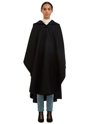 Saint Laurent Oversized Hooded Cape Coat Black