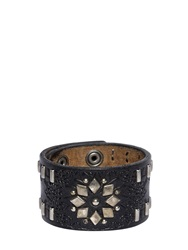 Dsquared Studded And Embossed Leather Cuff Bracelet Black