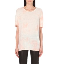 The Kooples Tie Dye Oversized Linen Jersey T Shirt Pink