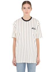 New Era Ne Pinstriped Oversized Cotton T Shirt White