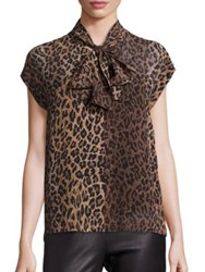 Saks Fifth Avenue Silk Leopard Print Tie Neck Blouse