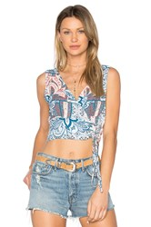 Minkpink Marrakech Tie Crop Top Blue