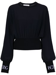 Iceberg Knitted Logo Cuff Blouse Black