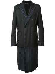 Comme Des Garcons Homme Plus Pinstriped Layered Coat Black
