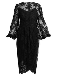 Dolce And Gabbana Galon Cotton Blend Lace Dress Black