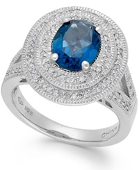 Macy's London Blue Topaz 2 1 5 Ct. T.W. And Diamond 1 3 Ct. T.W. Two Row Ring In Sterling Silver