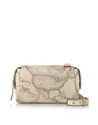 Alviero Martini 1A Classe Small Geo Safari Coated Canvas Crossbody Bag W Cream Leather Details