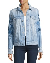 7 For All Mankind Distressed Boyfriend Jacket W Blue Roses Indigo