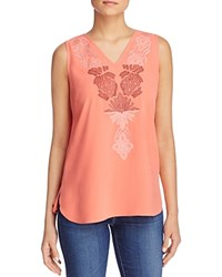 Nic Zoe Lovely Lei Embroidered Tank Coral Sun