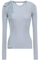 Red Valentino Redvalentino Woman Point D'esprit Trimmed Ribbed Cashmere And Silk Blend Sweater Light Blue