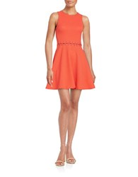 Design Lab Lord And Taylor Textured Fit Flare Dress Coral