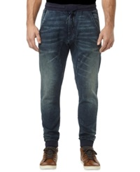 Buffalo David Bitton Zoltan Calciet Sanded Denim Jogger Pants Dark And Sanded