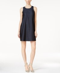 Calvin Klein Denim Embroidered Shift Dress Blue