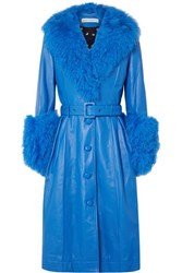Saks Potts Foxy Belted Shearling Trimmed Leather Coat Bright Blue