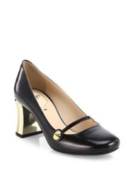 Fendi Golden Block Heel Leather Mary Jane Pumps Black Gold