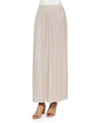 Joan Vass Long Pleated Skirt Taupe