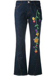 See By Chloe Embroidered Denim Kick Flare Jeans Women Silk Cotton Acrylic Wool 28 Blue