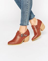 Glamorous Western Heeled Shoe Boots Cognac Red