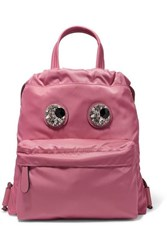 Anya Hindmarch Crystal Embellished Leather Trimmed Shell Backpack Pink