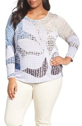 Nic Zoe Plus Size Women's Dayflower Linen Blend Top