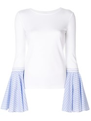 Dondup Contrast Flared Sleeve Sweater White