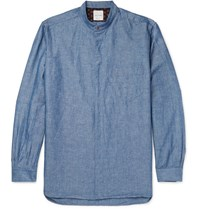 Paul Smith Grandad Collar Cotton And Linen Blend Chambray Shirt Blue
